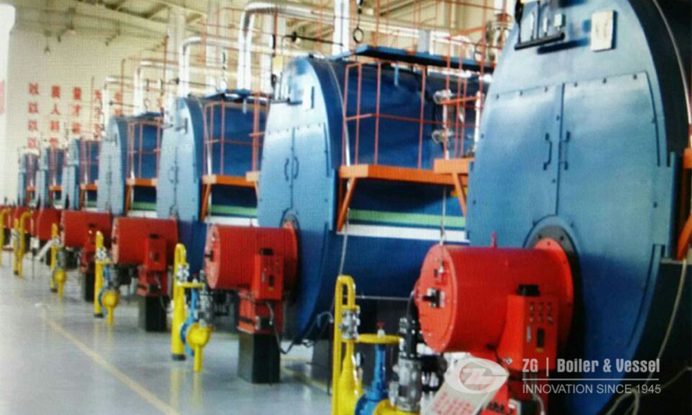 Horizontal gas fired steam boiler